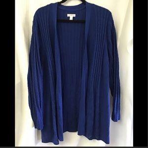 Blue Pointelle Knit Open Front Cardigan size 3X